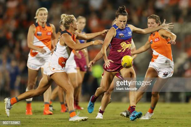 Emma Zielke of the Lions in action during the round seven AFLW match between the Greater Western Sydney Giants and the Brisbane Lions at Blacktown...