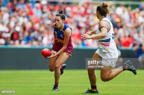 Emma Zielke of the lions runs with the ball during the AFL Women's Grand Final between the Brisbane Lions and the Adelaide Crows on March 25 2017 in...