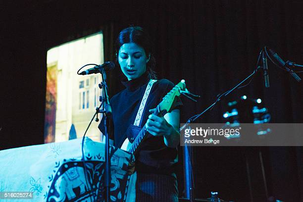 EmmaLee Moss of Emmy The Great performs on stage at Belgrave Music Hall on March 16 2016 in Leeds England