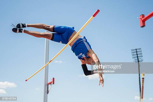 Emmanouil Karalis from Greece competes in Men's pole vault qualification during the IAAF World U20 Championships at the Zawisza Stadium on July 21...
