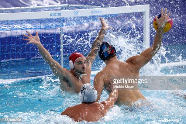 Emmanouil Zerdevas of Team Greece defends against Nikola Jaksic of Team Serbia during the Men's Gold Medal match between Greece and Serbia on day...