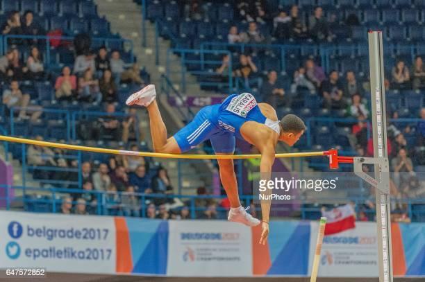 Emmanouíl KarálisGreece during pole vault for men at European athletics indoor championships in Belgrade on March 3 2017