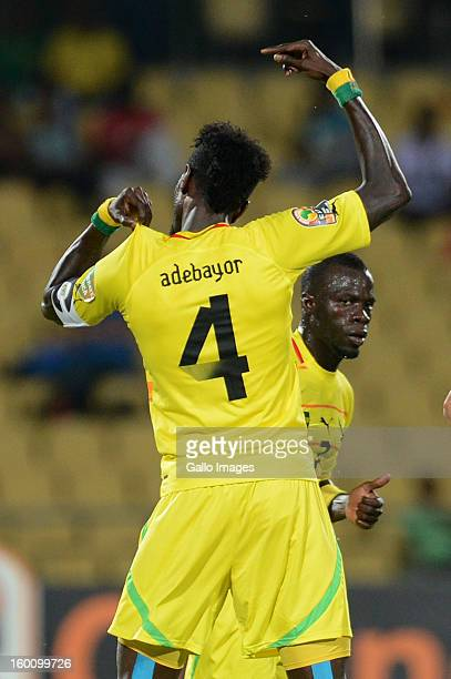 Emmanuel Adebayor celebrates his goal during the 2013 African Cup of Nations match between Togo and Algeria at Royal Bafokeng Stadium on January 26...