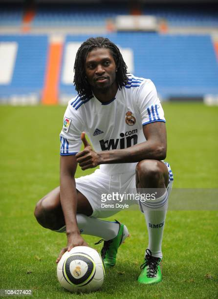 Emmanuel Adebayor is presented as a new Real Madrid player at Estadio Santiago Bernabeu on January 27 2011 in Madrid Spain