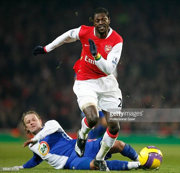 Emmanuel Adebayor of Arsenal and Tugay Kerimoglu of Blackburn during the Arsenal v Blackburn Rovers Premiership Match at The Emirates Stadium London...
