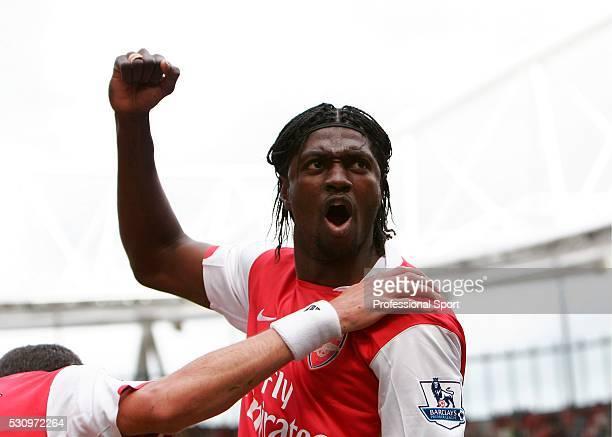 Emmanuel Adebayor of Arsenal celebrates after scoring a penalty during the Arsenal v Portsmouth Premiership Match at the Emirates Stadium London UK...