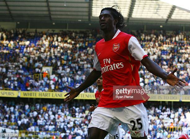 Emmanuel Adebayor of Arsenal celebrates his 2nd goal during the Barclays Premier League match between Tottenham Hotspur and Arsenal at White Hart...