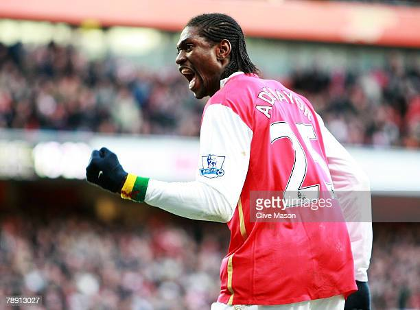 Emmanuel Adebayor of Arsenal celebrates his goal from the penalty sopt during the Barclays Premier League match between Arsenal and Birmingham City...