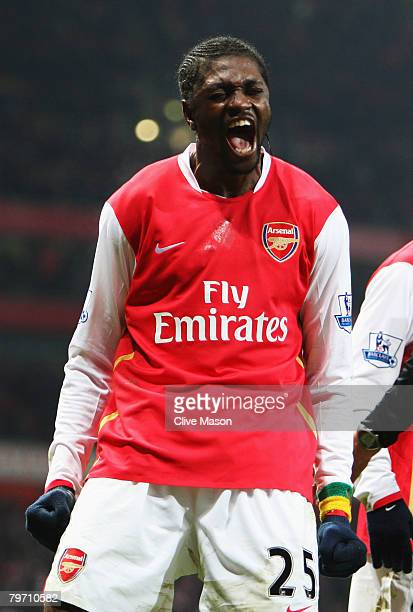 Emmanuel Adebayor of Arsenal celebrates scoring his sides second goal during the Barclays Premier League match between Arsenal and Blackburn Rovers...