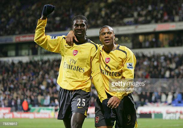 Emmanuel Adebayor of Arsenal celebrates scoring his team's third goal with team mate Julio Baptista during the FA Cup sponsored by EON 4th Round...