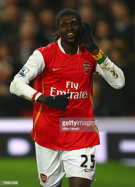 Emmanuel Adebayor of Arsenal celebrates scoring the first goal of the game during the Barclays Premier League match between Arsenal and Newcastle...