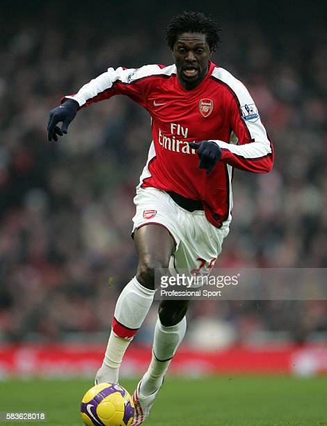 Emmanuel Adebayor of Arsenal in action during the Barclays Premier League match between Arsenal and Bolton Wanderers at the Emirates Stadium in...