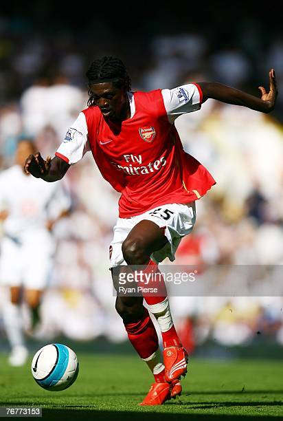 Emmanuel Adebayor of Arsenal in action during the Barclays Premier League match between Tottenham Hotspur and Arsenal at White Hart Lane on September...