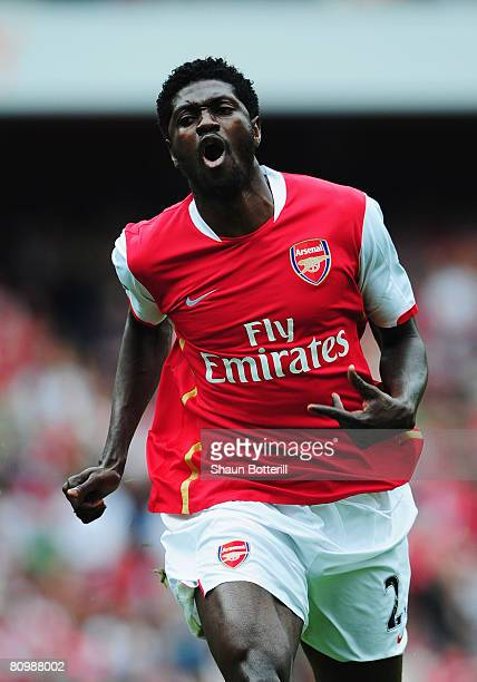 Emmanuel Adebayor of Arsenal in action during the Barclays Premier League match between Arsenal and Everton at the Emirates Stadium on May 4 2008 in...