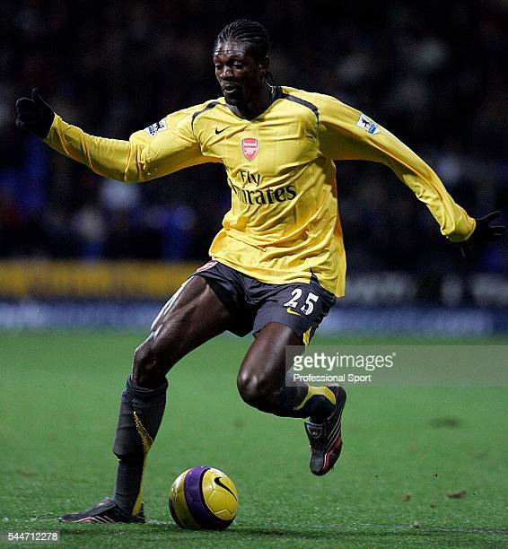 Emmanuel Adebayor of Arsenal in action during the FA Premier League match between Bolton Wanderers and Arsenal at the Reebok Stadium in Bolton on the...