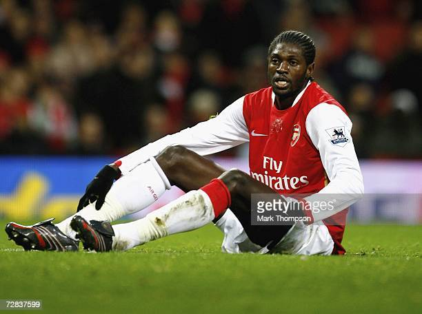 Emmanuel Adebayor of Arsenal in action during the Premiership match between Arsenal and Portsmouth at the Emirates Stadium on December 16 2006 in...