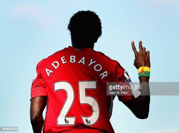 Emmanuel Adebayor of Arsenal salutes the crowd during the Barclays Premier League match between Blackburn Rovers and Arsenal at Ewood Park on...