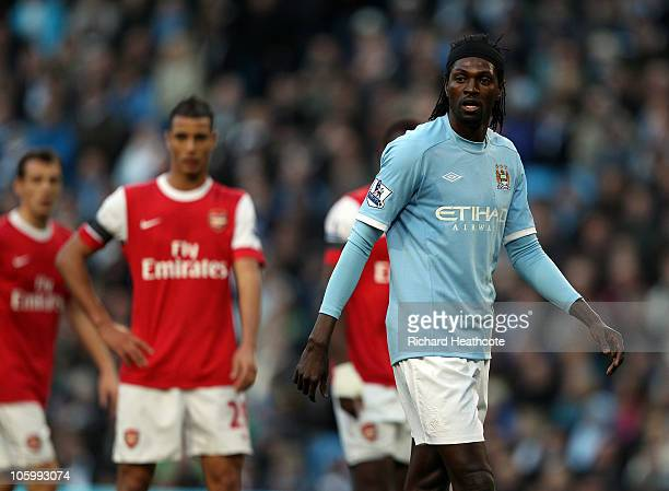 Emmanuel Adebayor of City in action against his former teammates during the Barclays Premier League match between Manchester City and Arsenal at City...