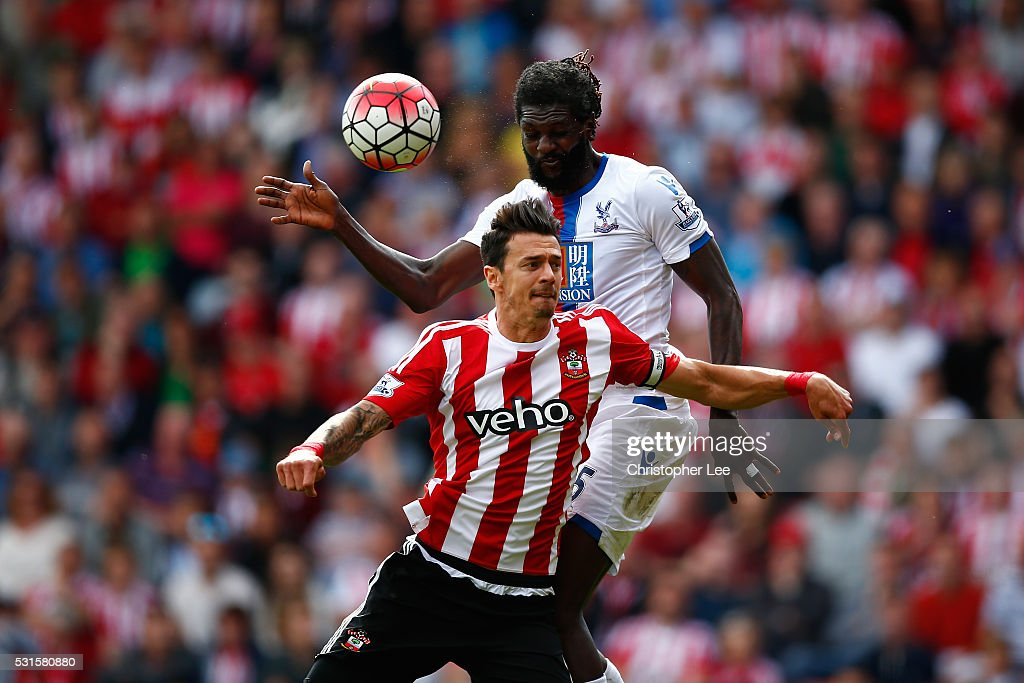 Emmanuel Adebayor of Crystal Palace and Jose Fonte of Southampton compete for the ball during the Barclays Premier League match between Southampton and Crystal Palace at St Mary's Stadium on May 15, 2016 in Southampton, England.
