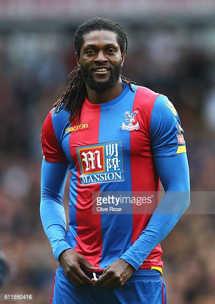 Emmanuel Adebayor of Crystal Palace looks on prior to the Emirates FA Cup Fifth Round match between Tottenham Hotspur and Crystal Palace at White...