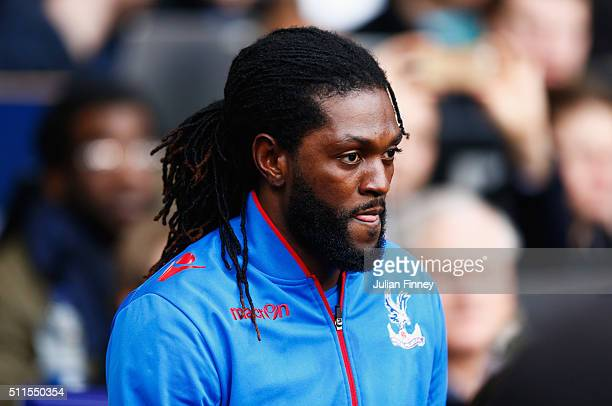 Emmanuel Adebayor of Crystal Palace walks out for the Emirates FA Cup Fifth Round match between Tottenham Hotspur and Crystal Palace at White Hart...