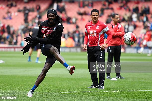 Emmanuel Adebayor of Crystal Palace warms up ahead of during the Barclays Premier League match between Arsenal and Crystal Palace at the Emirates...