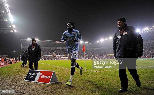 Emmanuel Adebayor of Manchester City heads down the tunnel after being sent off during the FA Cup 5th round match between Stoke City and Manchester...