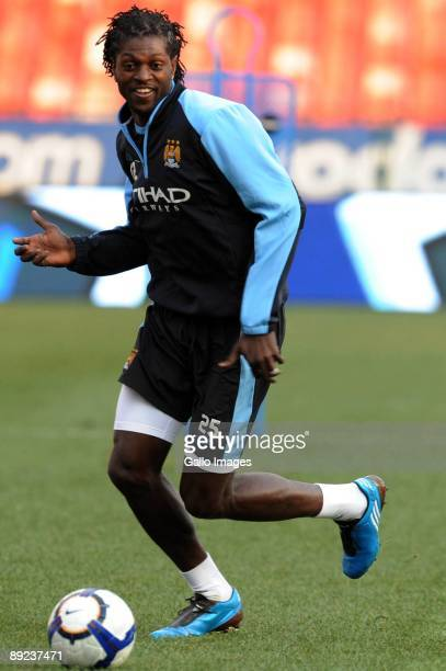 Emmanuel Adebayor of Manchester City in action during a Manchester City training session from Loftus Versfeld Stadium on July 24 2009 in Pretoria...