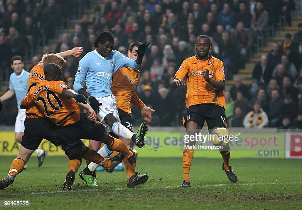Emmanuel Adebayor of Manchester City scores a goal during the Barclays Premier League match between Hull City and Manchester City at the KC Stadium...