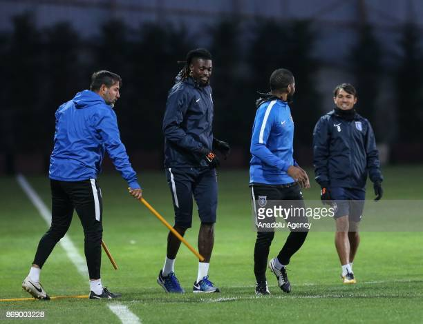Emmanuel Adebayor of Medipol Basaksehir attends a training session ahead of UEFA Europa League Group C soccer match between Medipol Basaksehir and...