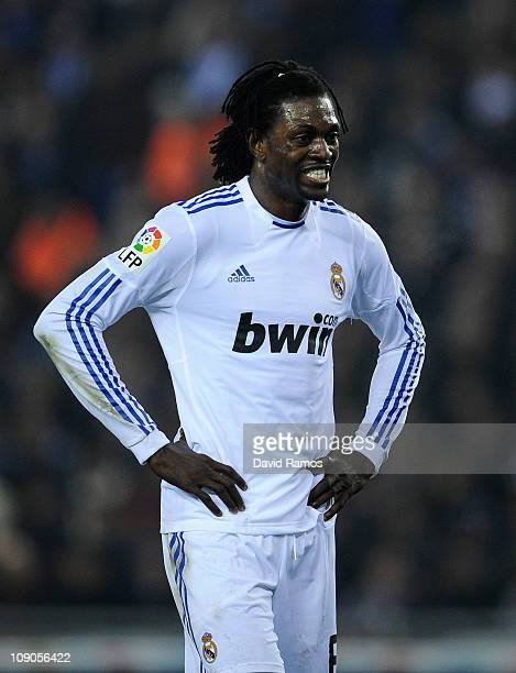 Emmanuel Adebayor of Real Madrid looks on during La Liga match between RCD Espanyol and Real Madrid at Estadi CornellaEl Prat on February 13 2011 in...
