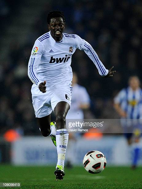 Emmanuel Adebayor of Real Madrid runs with the ball during La Liga match between RCD Espanyol and Real Madrid at Estadi CornellaEl Prat on February...