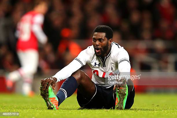 Emmanuel Adebayor of Spurs looks on after a missed chance on goal during the Budweiser FA Cup third round match between Arsenal and Tottenham Hotspur...