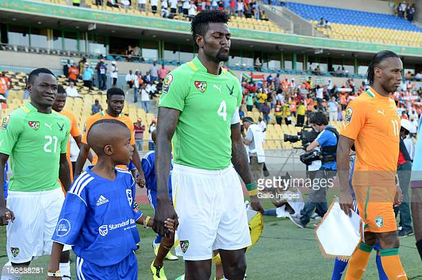 Emmanuel Adebayor of Togo and Didier Drogba of Ivory Coast during the 2013 Orange African Cup of Nations match between Ivory Coast and Togo at Royal...