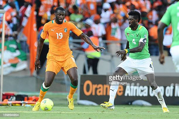 Emmanuel Adebayor of Togo and Yaya Toure of Ivory Coast during the 2013 Orange African Cup of Nations match between Ivory Coast and Togo from Royal...