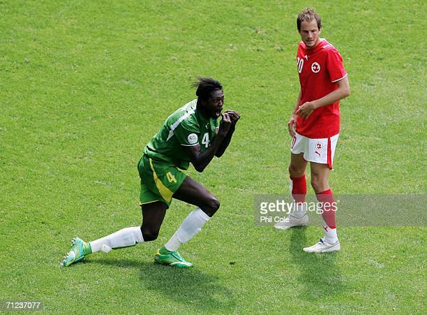 Emmanuel Adebayor of Togo appeals unsuccessfully for a penalty during the FIFA World Cup Germany 2006 Group G match between Togo and Switzerland at...