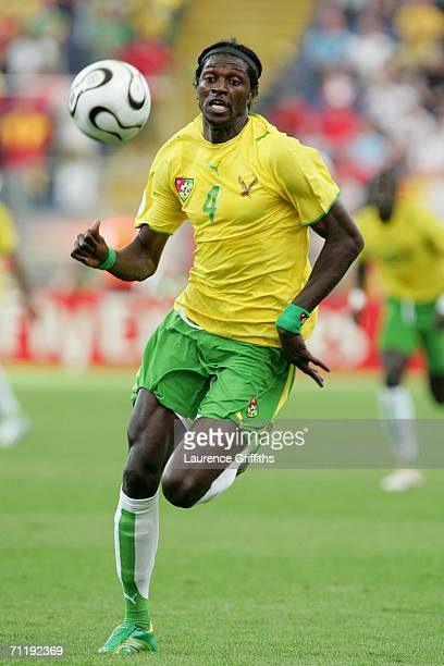 Emmanuel Adebayor of Togo chases the loose ball during the FIFA World Cup Germany 2006 Group G match between South Korea and Togo at the Stadium...