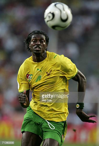 Emmanuel Adebayor of Togo chases the loose ball during the FIFA World Cup Germany 2006 Group G match between Togo and France at the Stadium Cologne...
