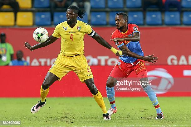 Emmanuel Adebayor of Togo in action during the 2017 Africa Cup of Nations Group C match between Togo and Democratic Republic of the Congo in...