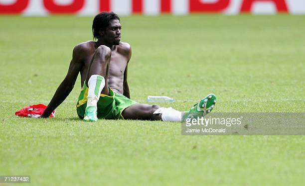 Emmanuel Adebayor of Togo looks dejected after the FIFA World Cup Germany 2006 Group G match between Togo and Switzerland at the Stadium Dortmund on...