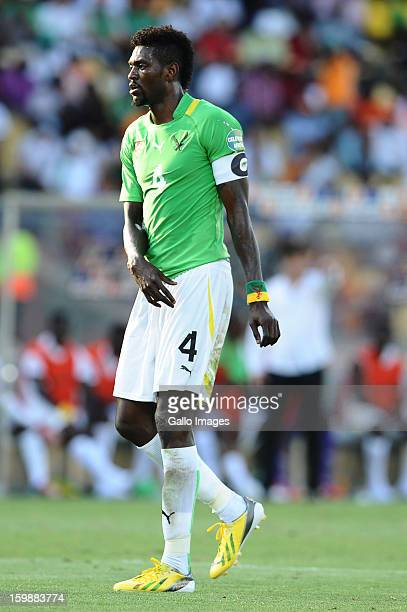 Emmanuel Adebayor of Togo looks on during the 2013 Orange African Cup of Nations match between Ivory Coast and Togo at Royal Bafokeng Stadium on...
