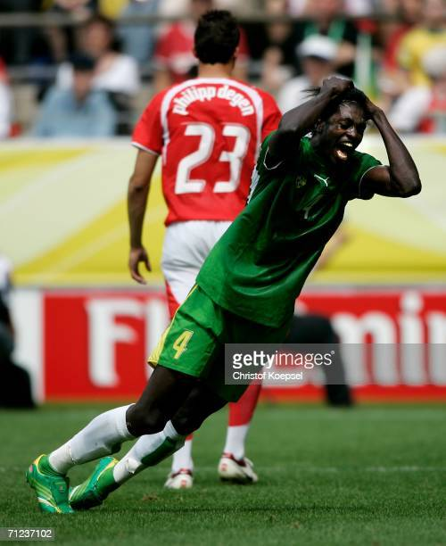 Emmanuel Adebayor of Togo reacts after he appealed unsuccessfully for a penalty during the FIFA World Cup Germany 2006 Group G match between Togo and...