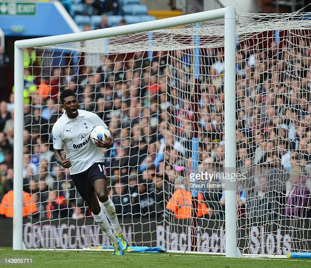 Emmanuel Adebayor of Tottenham Hotspur celebrates after scoring a penalty during the Barclays Premier League between Aston Villa and Tottenham...