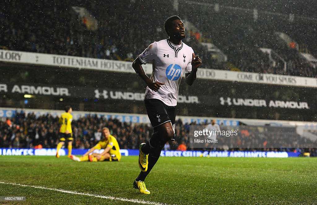 Emmanuel Adebayor of Tottenham Hotspur celebrates scoring his team's first goal during the Barclays Premier League match between Tottenham Hotspur and Sunderland at White Hart Lane on April 7, 2014 in London, England.