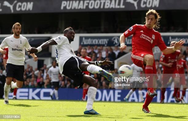 Emmanuel Adebayor of Tottenham Hotspur scores his side's fourth goal during the Barclays Premier League match between Tottenham Hotspur and Liverpool...