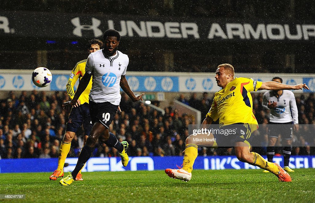 Emmanuel Adebayor of Tottenham Hotspur scores his team's first goal during the Barclays Premier League match between Tottenham Hotspur and Sunderland at White Hart Lane on April 7, 2014 in London, England.