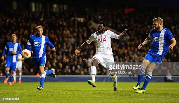 Emmanuel Adebayor of Tottenham Hotspur scores their third goal during the UEFA Europa League Round of 32 second leg match between Tottenham Hotspur...