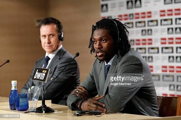 Emmanuel Adebayor speaks during a press conference beside Jorge Valdano general director of Real Madrid during his presentation as a new Real Madrid...