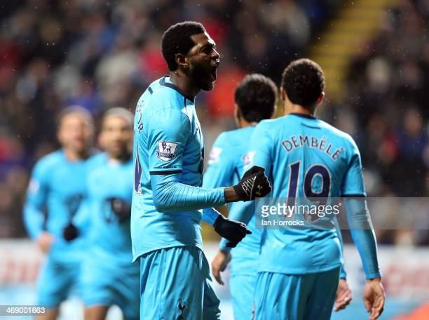 Emmanuel Aderbator of Tottenham celebrates scoring the opening goal during the Barclays Premier League match between Newcastle United and Tottenham...