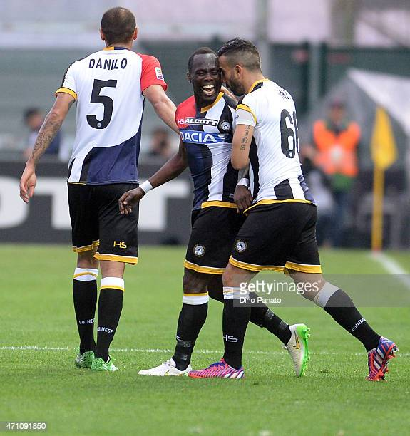 Emmanuel Agyemang Badu of Udinese Calcio celebrates with his teams mate Giampiero Pinzi after scoring his teams second goal during the Serie A match...
